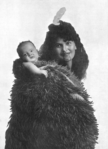 Associate Product POLYNESIA. Polynesia. A Maori mother; Carrying baby in cloak 1900 old print