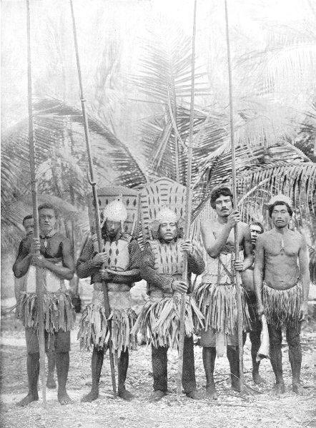 Associate Product POLYNESIA. Polynesia. Gilbert Island Warriors;  1900 old antique print picture