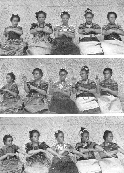 Associate Product POLYNESIA. Polynesia. A Sitting dance; A Samoan Taupou 1900 old antique print