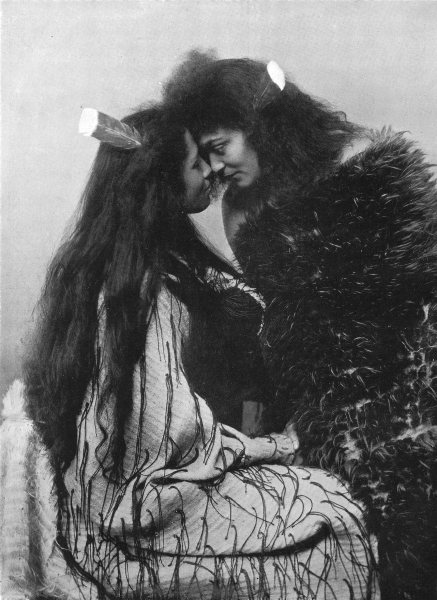 Associate Product POLYNESIA.Maori method of greeting pressing Noses;flax cloak & huia feather 1900