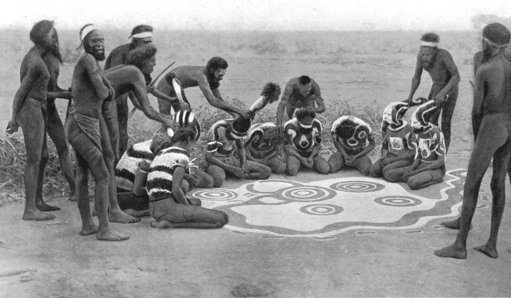 Associate Product AUSTRALIA. Ground drawing Totemic ceremony;Wollunqua Totem,Warramunga tribe 1900