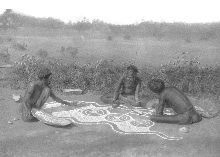 Associate Product AUSTRALIA. Australia. Preparing a ground drawing; Warramunga tribe 1900 print