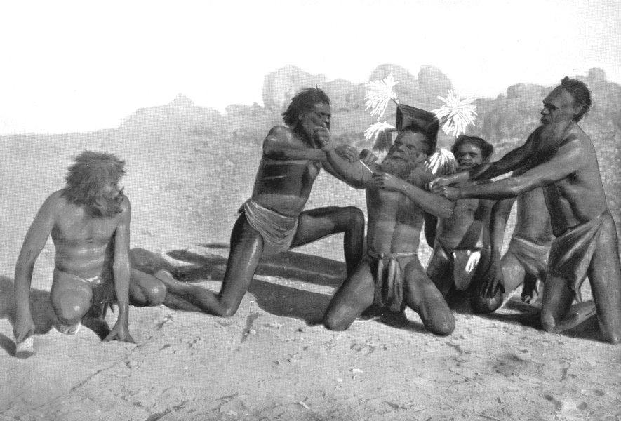 Associate Product AUSTRALIA. Australia. Ceremony for making Snakes-Urabunna tribe;  1900 print