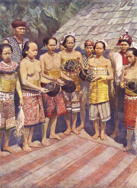 Associate Product AUSTRALIA. Australia. Dayak women dancing with human heads;  1900 old print