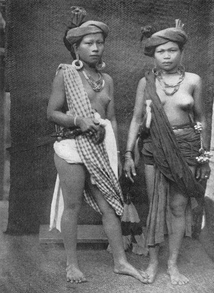 Associate Product KALIMANTAN. Borneo. women dressed for Harvest Fete; dress in men's attire 1900