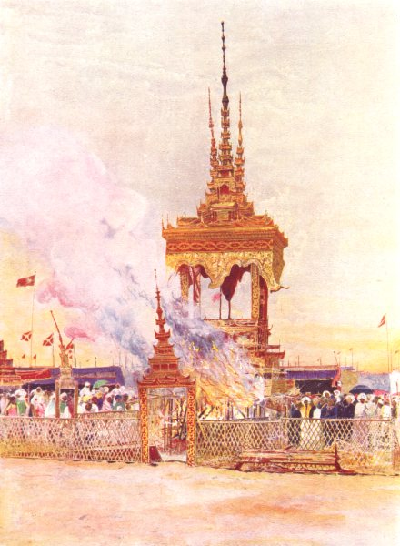 Associate Product BURMA. Burma. The Cremation of Pongyi; Burman monk 1900 old antique print
