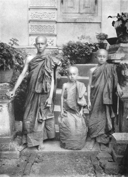 Associate Product BURMA. Initiation to order; 3 Burman youths admitted Holy 1900 old print