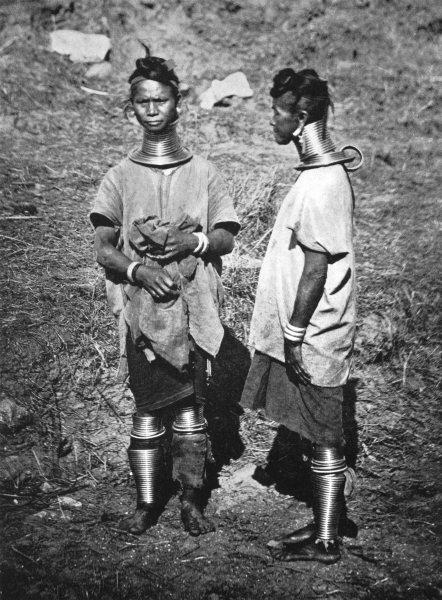 Associate Product BURMA. Burma. Padaung women; neck-rings 1900 old antique vintage print picture