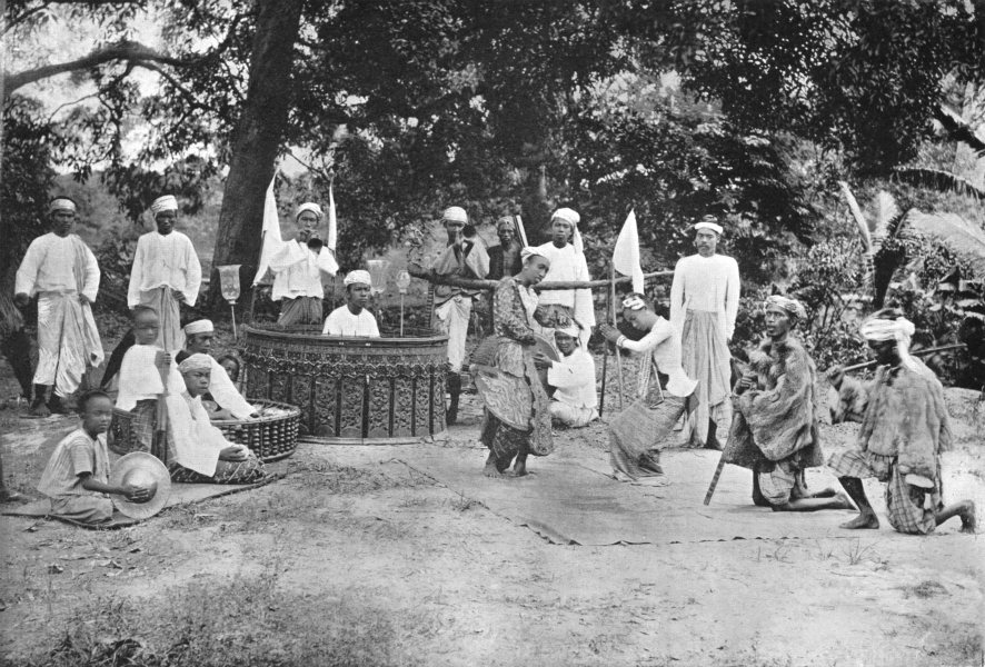 Associate Product BURMA. Burma. An open-Air play; Saing-Waing instrument 1900 old antique print