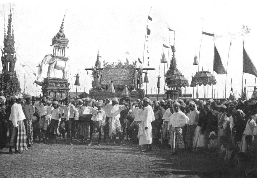 Associate Product BURMA. Burma. A Funeral procession;  1900 old antique vintage print picture