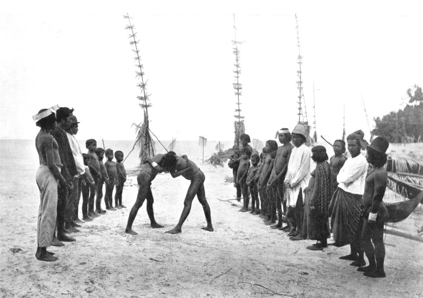 Associate Product ANDAMAN NICOBAR ISLANDS. &. Nicobarese wrestling match;  1900 old print