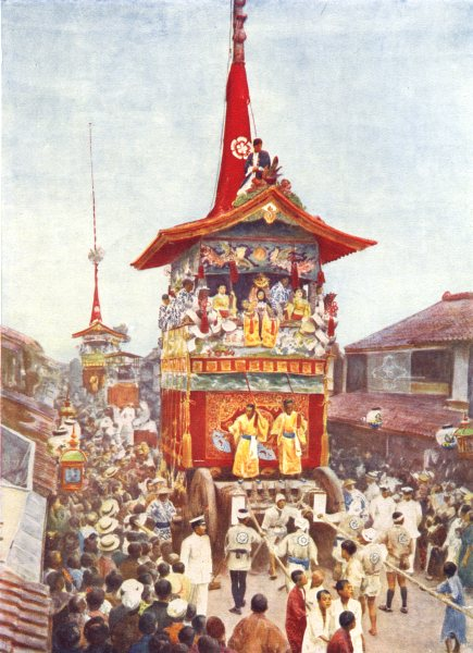Associate Product JAPAN. Gion Fete, Kyoto; 17th & 24th of July; 23 dashi cars 1900 old print