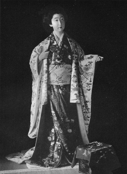 Associate Product JAPAN. Bridal robe daimio daughter;scarlet crepe kimono;damask satin mantle 1900