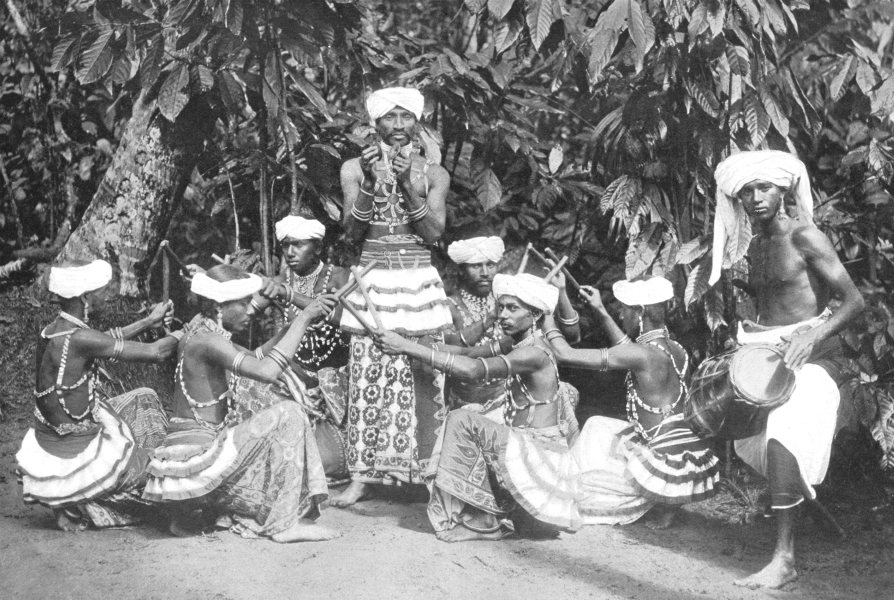 Associate Product SRI LANKA. Sri Lanka. Sinhalese stick-dancers; tom-tom beaters 1900 old print
