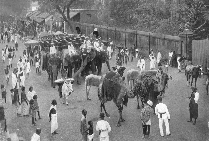 Associate Product INDIA. Southern India. Procession at Kumbakonam; elephants 1900 old print
