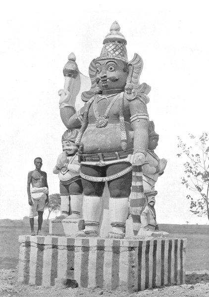 Associate Product INDIA. Southern India. A Village Deity; gate-keeper god, Tamil country 1900