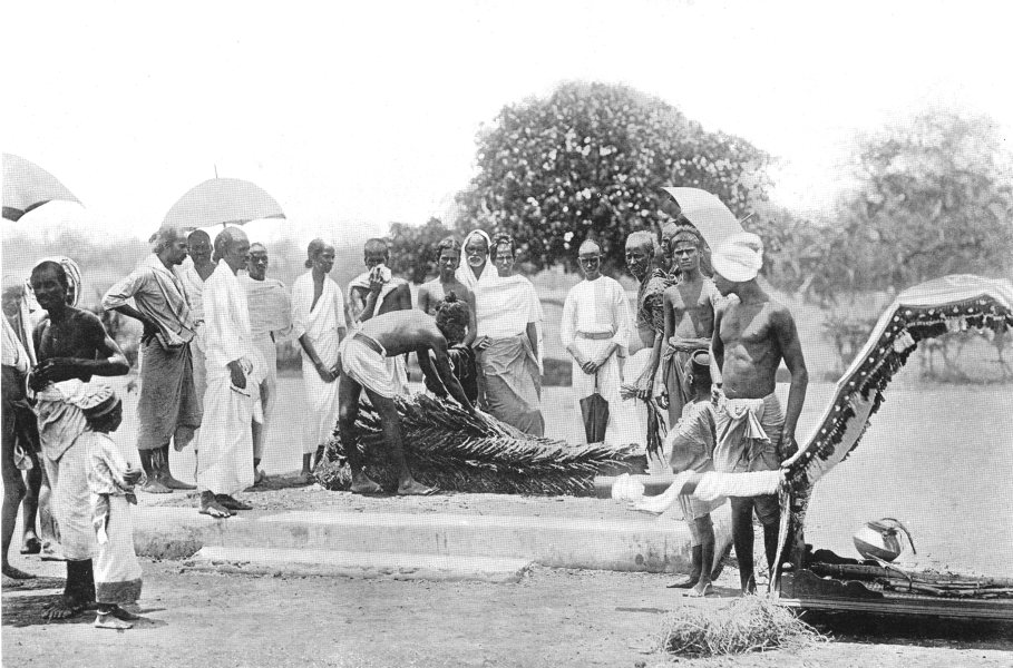 Associate Product INDIA. Southern India. The Corpse ready for cremation;  1900 old antique print