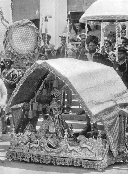 INDIA. A Raja's wedding; bridegroom with the marriage crown 1900 old print