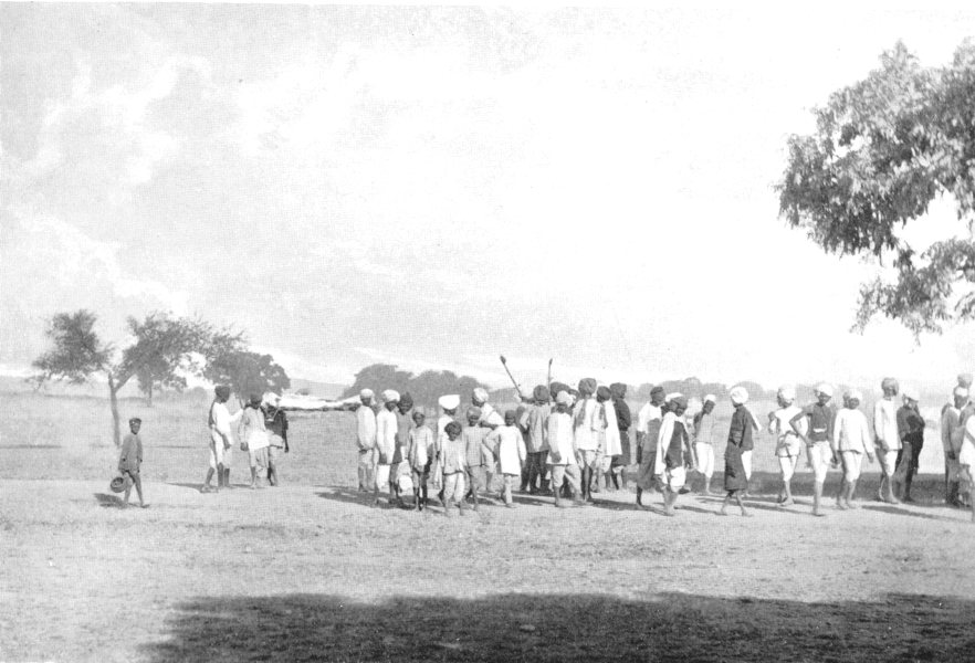 Associate Product INDIA. Hindu Funeral; body wrapped White cotton cloth carried wooden bier 1900