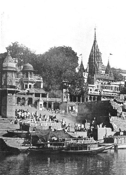 INDIA. A Hindu Crematorium at Varanasi;  1900 old antique print picture