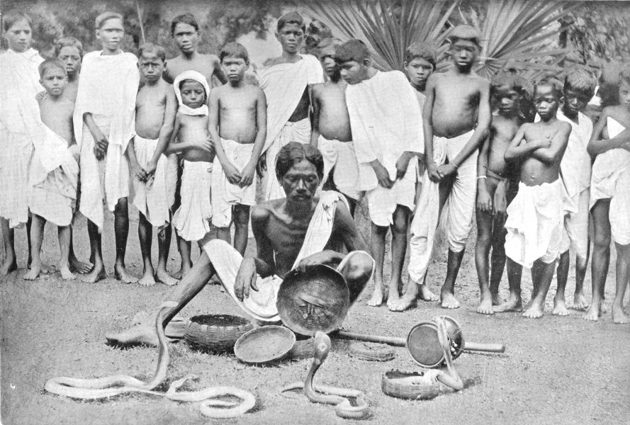 Associate Product INDIA. A Snake-charmer at the Chaibasa mela;  1900 old antique print picture