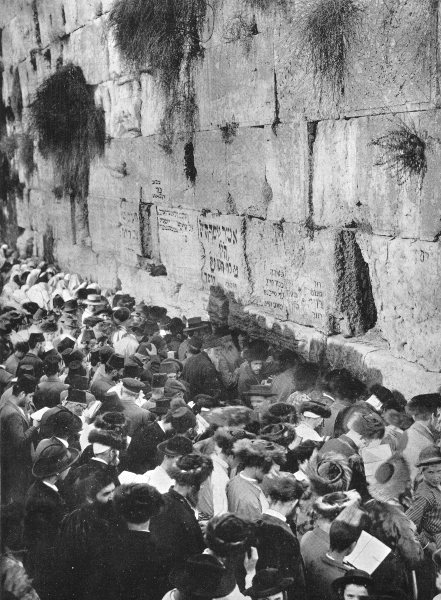 Associate Product JERUSALEM. The Wailing Place of the Jews; Wailing wall 1900 old antique print