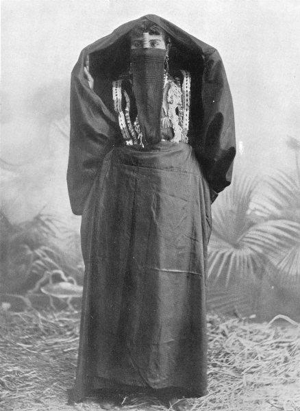 Associate Product EGYPT. An Egyptian town woman in outdoor dress; yelek, yashmak, 'abaya 1900