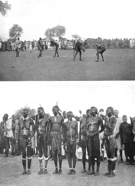 SUDAN. The Southern Sudan. Nubas Wrestling; both men and women take part 1900