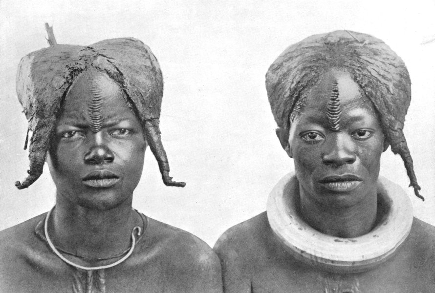"Associate Product CONGO. Two Mongo Women; Lulonga River. Tribal mark ""cock's comb"" 1900 print"