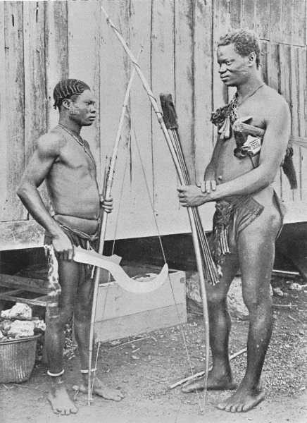 Associate Product CONGO. Lake Tumba men and their weapons; spears knives, flint-lock guns 1900