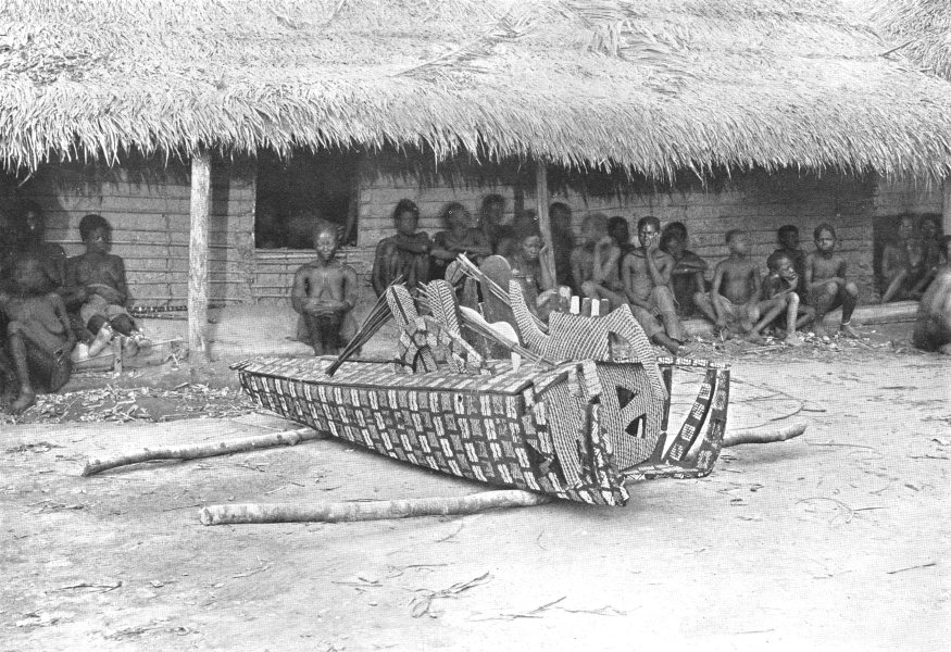 Associate Product CONGO. A Decorated Coffin, Mongo; corpse washed & put in a hut for a month 1900