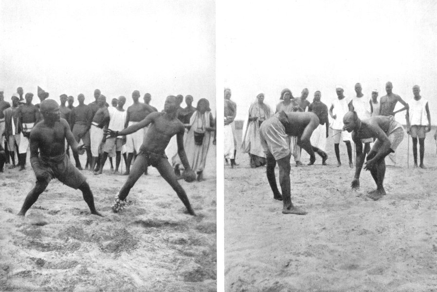 W AFRICA. Hausa Sports; Wrestling harvest time secures crop gathering 1900