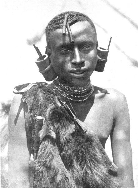 Associate Product KENYA. An Andorobo man; related to the Nandi tribe. Cylinder in ear lobe 1900