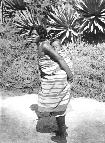 MADAGASCAR. A Malagasy woman carrying her baby on her back. Sling 1900 print