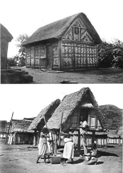 Associate Product MADAGASCAR. Malagasy houses; Antanosy women rice husks wooden mortar 1900