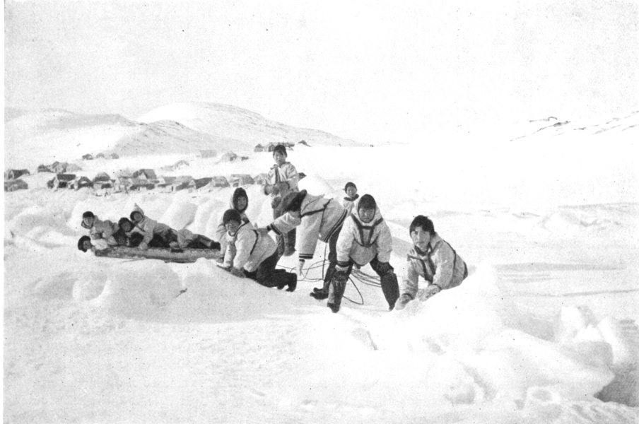 Associate Product ARCTIC. Arctic America. Boy's Games; Eskimos. Sledge pulled by boys 1900 print
