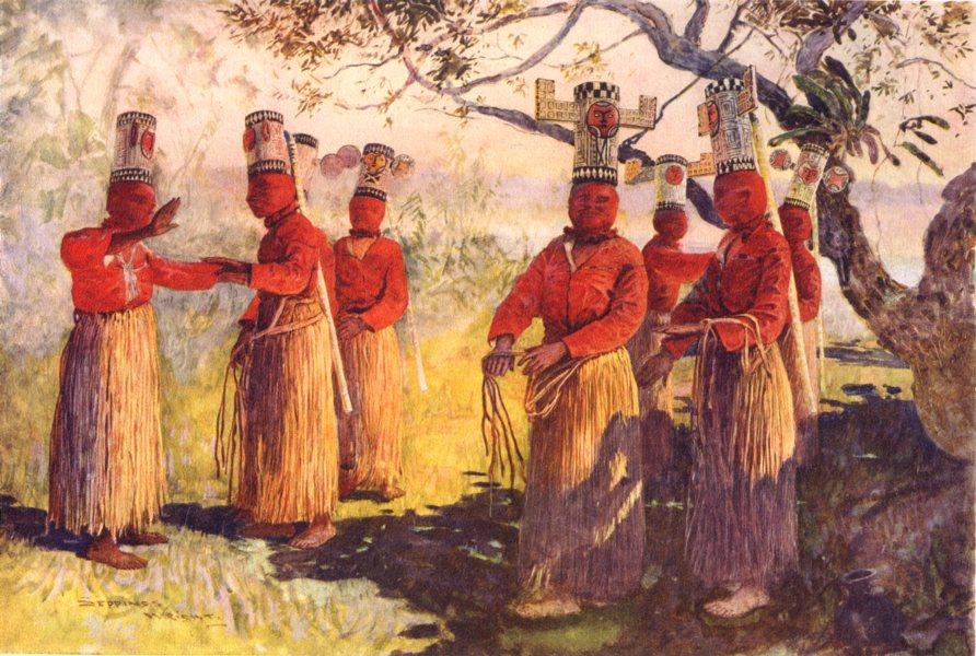 Associate Product BRAZIL. Masked dancers of Opaina, river Apaporis, Brazil;  1900 old print