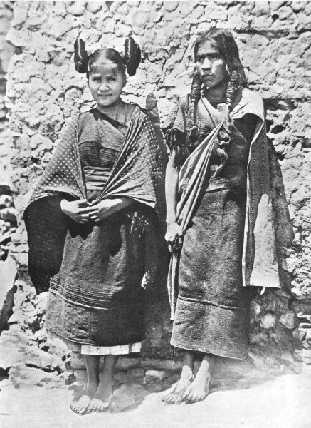 Associate Product ARIZONA. Hopi girl & her mother; hair in side whorls squash-flower chastity 1900