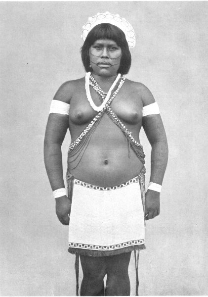 BRAZIL. Taulipang girl in Fete dress; North; diadem of network & cotton 1900