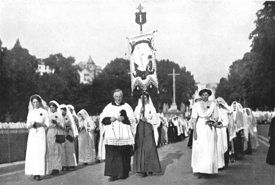 Associate Product HAUTES-PYRÉNÉES. France. Pilgrims Lourdes;  1900 old antique print picture