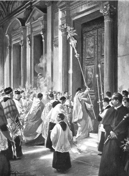 Associate Product ROME. A Lenten custom, Rome; Holy week Palm Sunday. Basilica 1900 old print