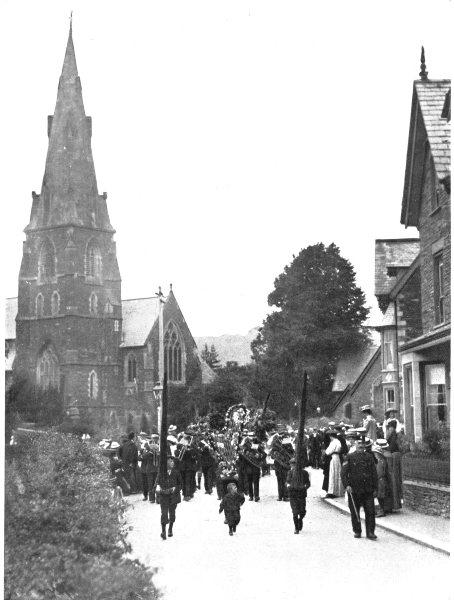 CUMBRIA. Rush-Bearing, Ambleside;  1900 old antique vintage print picture