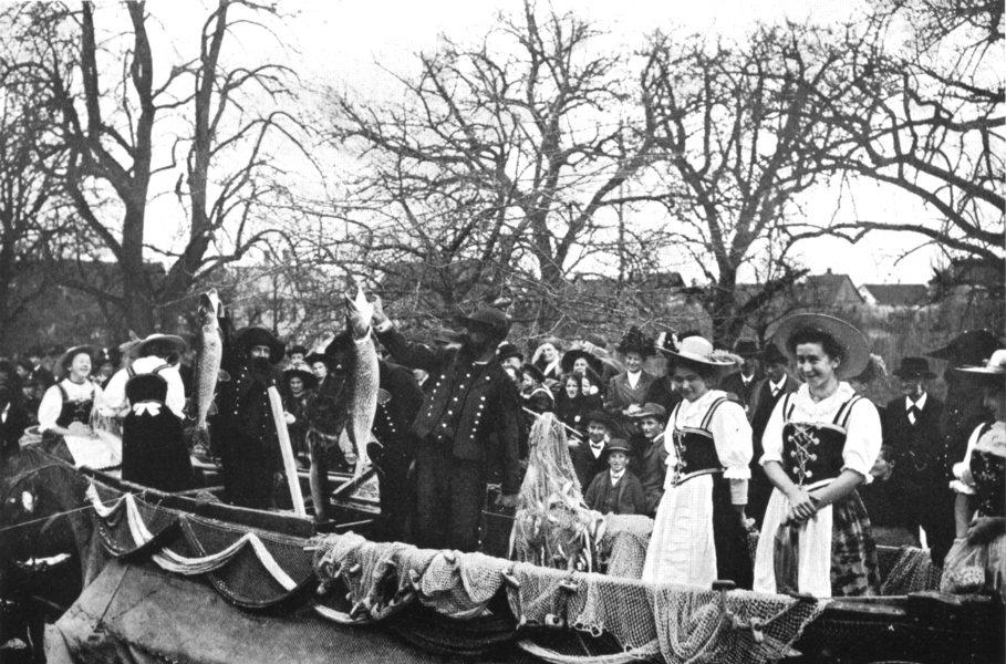 Associate Product SWITZERLAND. A Guild festival, Ermatingen; 1900 old antique print picture