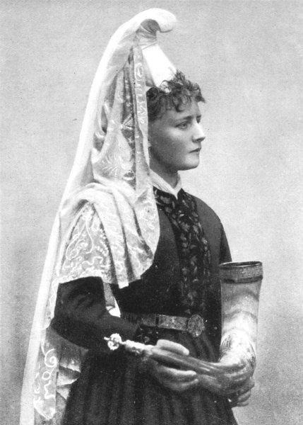 Associate Product DENMARK. Scandinavia. Bridal dress, Denmark; embroidered gold silver 1900