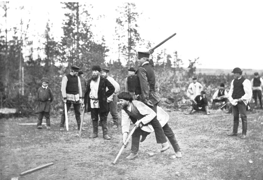 Associate Product FINLAND. The Kyykka Game; Similar to ninepins 1900 old antique print picture
