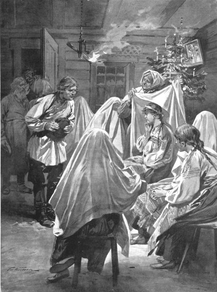 RUSSIA. Bride-Choosing on Christmas Eve; veiled women 1900 old antique print