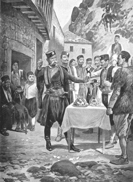 Associate Product MONTENEGRO. Montenegrin Easter Custom; drinking Holy Trinity, breaking eggs 1900