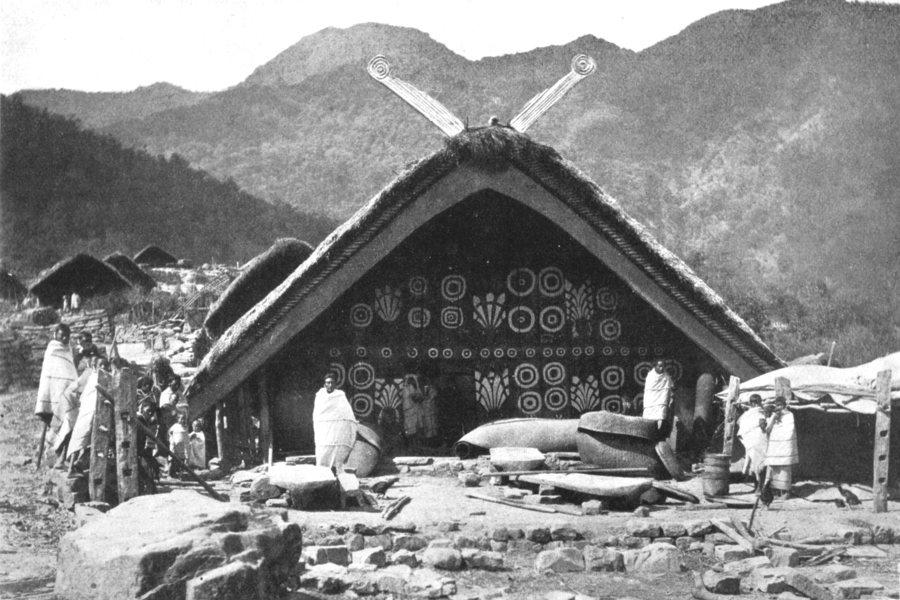 ASSAM. Bachelors Hall; Naga, Ching-po, Mikoi Mishmi tribes. Morang 1900 print