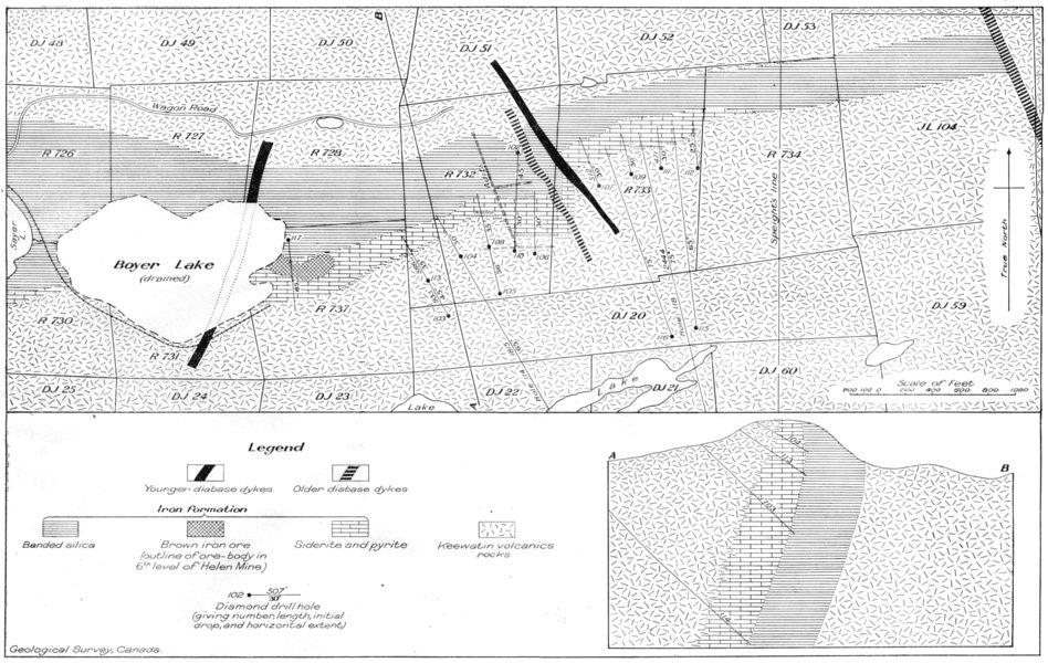 Associate Product CANADA.Plan vertical cross-section main part Helen iron range. Geology 1926 map