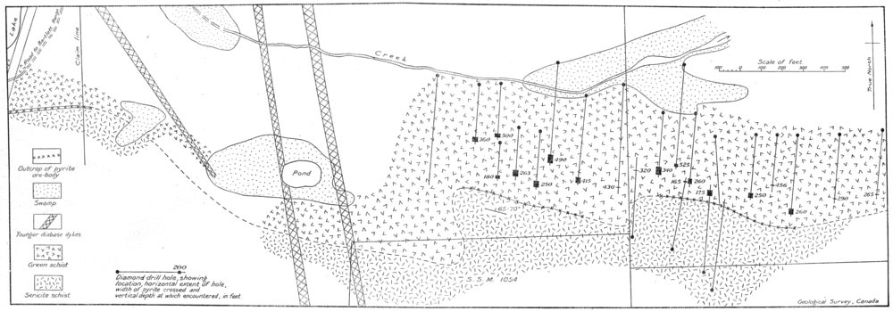 Associate Product CANADA.Holdsworth pyrite deposit,diamond-drill Algoma Steel Corporation 1926 map